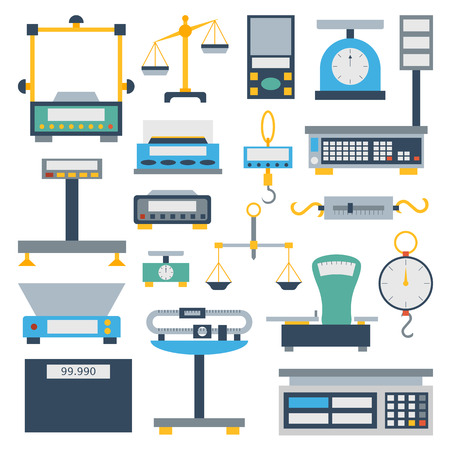 Web icon scales set law weigh legal court judge lawyer. Measurement justice isolated scales weighing equilibrium weight balance. Freedom industry protection punishment decision vector instrument.