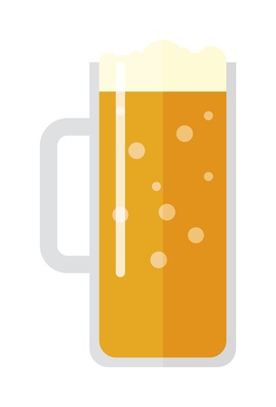 refreshment: Full glass of light beer isolated on white background. Beer cup alcohol and beer cup lager beverage. Beer cup mug liquid white foam and bubble foam beer cup cold drip refreshment.
