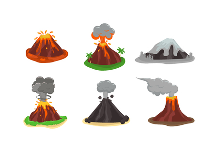 geology: Volcano magma nature blowing up with lava flowing down vector set. Crater mountain volcano hot natural eruption nature. Volcano erupt ash fire hill landscape outdoor geology exploding ash.