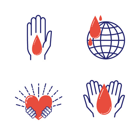 charity collection: Volunteer icons donate charity donation vector set. Humanitarian volunteer icons awareness hand hope aid support and assistance care service human volunteer symbols. Collection shape donate concepts Illustration