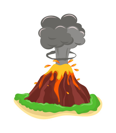 crater: Volcano eruption stromboli with spectacular eruptions. Eruption crater mountain volcano hot natural eruption nature. Volcano erupt ash fire hill landscape outdoor geology eruption exploding ash. Illustration