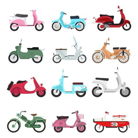 bicicleta vector: Conjunto de vector vendimia scooters moto retro. moto autotransporte retro moto recorrido viejo. Diseño del motor de la moto retro camino negro unidad urbana scooter. inconformista estilo hermosa automático.