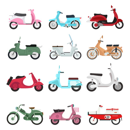 brat: Set of vector vintage scooters retro motorbike. Retro motorbike motor transport old travel bike. Design engine retro motorbike black road urban drive scooter. Stylish hipster beautiful auto. Illustration