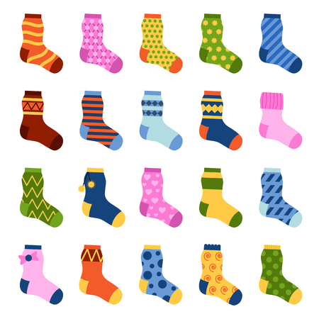 drawing cartoon: Flat design colorful socks set vector illustration. Selection of various socks on white background. Textile warm clothes socks pair cute decoration wool winter clothing. Sport season collection.