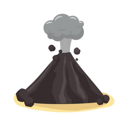 crater: Volcano eruption stromboli with spectacular eruptions. Eruption crater mountain volcano hot natural eruption nature. Volcano erupt ash fire hill landscape outdoor geology eruption exploding ash. Illustration
