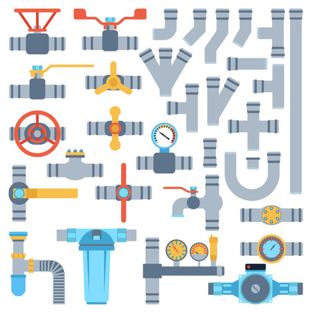 Set of color details pipes different types collection. Vector set of pipes water tube industry, gas valve construction. Oil industrial pressure technology plumbing pipes. Steel factory engineering.