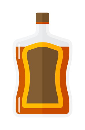 scotch whisky: Whiskey bottle shot drink vector whiskey bottle brown drink. Brown whiskey bottle beverage liquor bar cognac amber, drunk ireland flavor. Taste screw scottish cocktail. Illustration