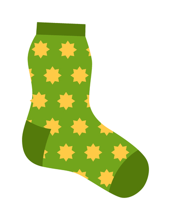 Flat design colorful socks icon vector illustration. Selection of various socks on white background. Textile warm clothes socks pair cute decoration wool winter clothing. Sport season collection.
