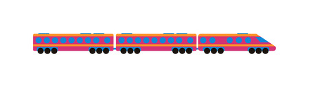 toy train: Cartoon passenger train with colorful blocks isolated over white and toy train vector set. Flat train color railroad and cartoon cargo train fun leisure joy gift. Passenger transportation
