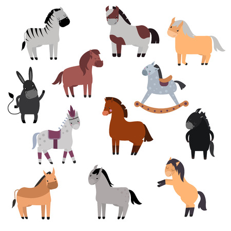 Smiling cartoon horses on white background and cartoon horse vector set. Cute cartoon horse farm animals and cartoon horse happy mane stallion character design. Adorable cartoon horses.