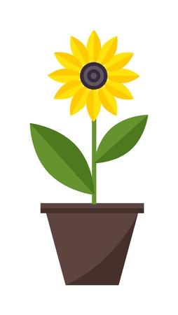Platte bloempot en bloempot met kleurrijke bloemen. Natuur huisinstallatie bloempot en lente decoratie bloempot. Bloempot tuin bloeien plat vector. Lente kleurrijke tuin bloemen in pot vector.