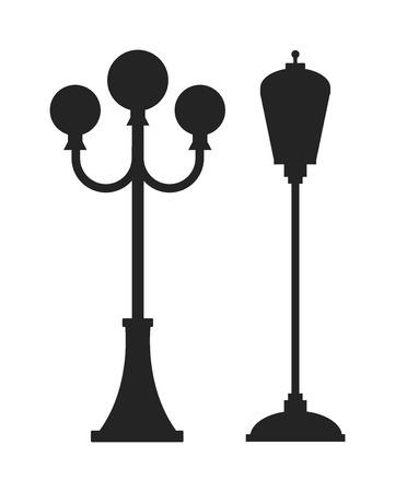 lampada: sagoma nera oggetto strada dell'industria elettrica Via lampada retrò in metallo e lampione d'epoca silhouette nera di vettore. Via lampada illustrazione piatta vettoriale. Lampada di via sagoma nera