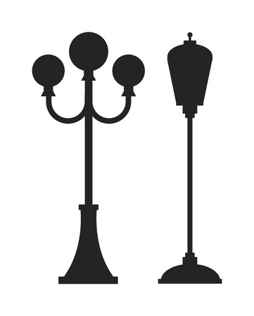 lamp: Street lamp black silhouette retro metal street object electricity industry and vintage street lamp black silhouette vector. Street lamp flat vector illustration. Street lamp black silhouette Illustration