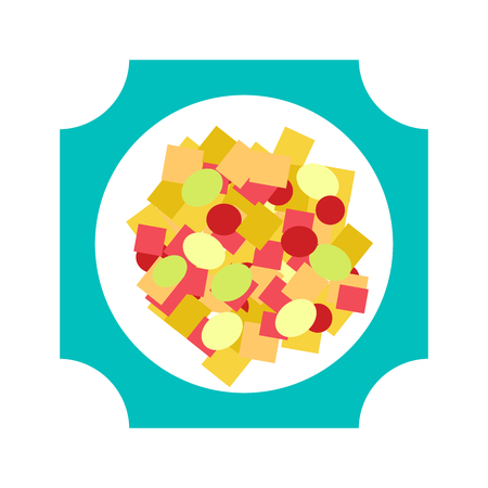 Bowl of healthy fresh fruit salad on white background. Top view fruit salad. Dessert nutrition strawberry breakfast fruit salad and fruit salad banana blueberry sweet citrus lunch.