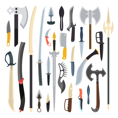 Knifes weapon collection. Vector illustration of swords, knifes, axe, spear. Edged weapons vector weapon set. Combat knifes andbonder knives, bayonet knife, swat knifes. Cold steel arms. Illustration