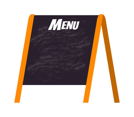 menu board: Wooden menu board isolated on white and store black board menu frame. Chalkboard cafe menu board and design vintage lunch wooden menu board. Retro blackboard business breakfast menu. Illustration