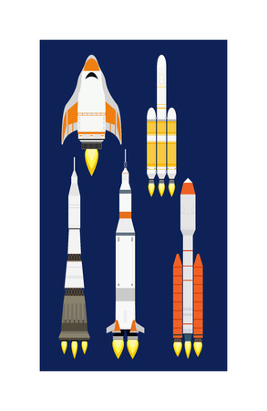 engine flame: Rocket vector and technology ship rocket cartoon design. Science future travel rocket and shuttle fly rocket. Speed galaxy fantasy rocket and futuristic spacecraft, astronaut modern element. Business start concept