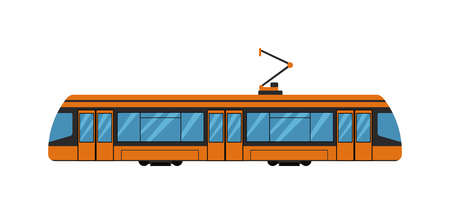 Vintage tram. Retro tram. Detailed tram. Side view tram. Touristic tram. Yellow tram vector illustration and transportation city isolated urban car train. Public railway tourism vehicle.