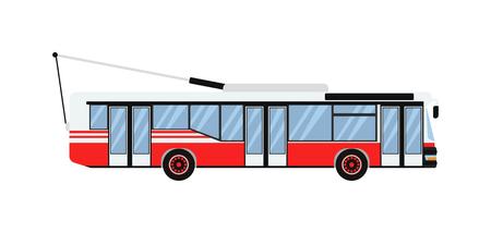trolleybus: Vector illustration public transport trolleybus. Transportation urban city vehicle trolleybus and traffic road icon trolleybus. Trolley electric passenger sign, symbol machine trolleybus.