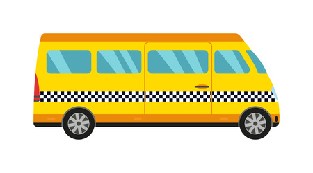 old new york: Taxi yellow bus car isolated on white background. Vector yellow taxi bus van and cab transport traffic urban yellow taxi. Road street service yellow taxi bus car isolated, Van truck taxi bus