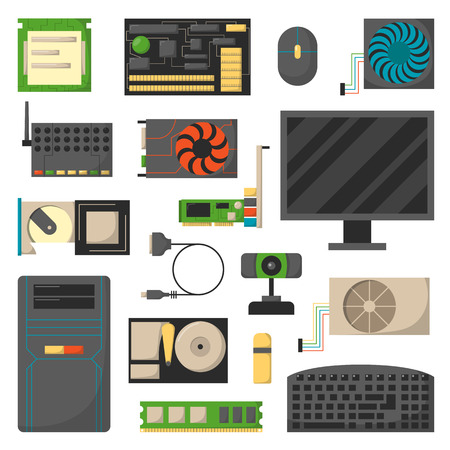 Computer gegevens moederbord op een witte achtergrond en vector set computer gegevens hardware. Elektronische informatie-component computer details en processor chip communicatie computer details.