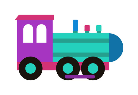 Cartoon toy train with colorful blocks isolated over white and toy train vector set. Toy train color railroad and cartoon carriage game toy train fun leisure joy gift. Locomotive transportation.