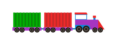 brick road: Cartoon toy train with colorful blocks isolated over white and toy train vector set. Toy train color railroad and cartoon carriage game toy train fun leisure joy gift. Locomotive transportation.