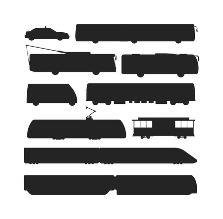 freight traffic: Vector black silhouettes of trains. Trains silhouette locomotives with different wagons. Trains black silhouette locomotive transportation trains silhouette freight sign rail traffic. Illustration