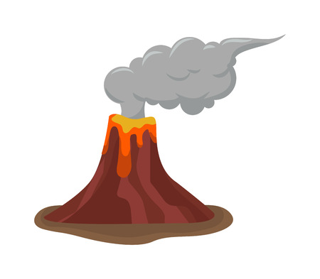 Volcano eruption stromboli with spectacular eruptions. Eruption crater mountain volcano hot natural eruption nature. Volcano erupt ash fire hill landscape outdoor geology eruption exploding ash. Illustration
