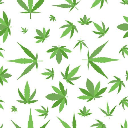녹색 마리화나 배경 벡터 일러스트 레이 션. 흰색 마리화나 배경 잎 패턴 반복 반복합니다. 마리화나 잎 배경 허브 마약 섬유 패턴입니다. 다른 벡터 패 일러스트