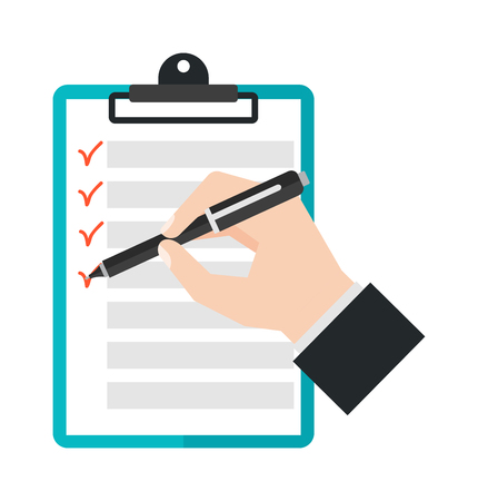 Agenda list icon vector illustration. Business concept with paper agenda document flat style. Agenda calendar, self-adhesive notes, color marker, article agenda.
