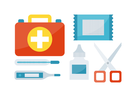 First aid kit isolated on white background and first aid symbols vector. First aid symbols medical symbol emergency sign and kit cross first aid symbols. Assistance equipment case safety sign.