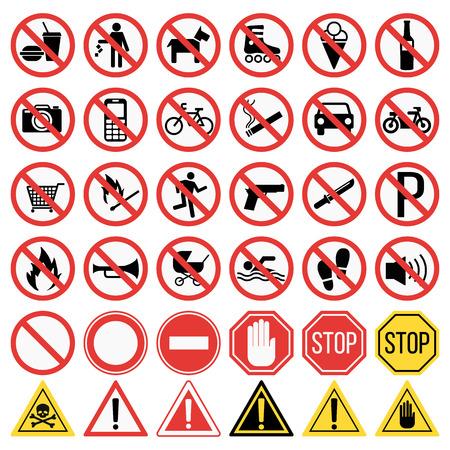 Prohibition signs set vector illustration. Warning danger symbol prohibiting signs. Forbidden safety information prohibiting signs. Protection signs no pet warning information sign.  イラスト・ベクター素材