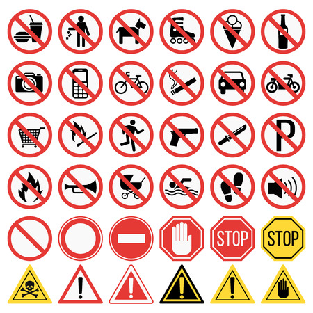 Prohibition signs set vector illustration. Warning danger symbol prohibiting signs. Forbidden safety information prohibiting signs. Protection signs no pet warning information sign. Vettoriali