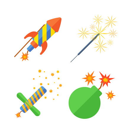rocket bomb: Pyrotechnic rockets vector illustration pyrotechnics and firework fountain, roman candle, beautiful rocket. Anniversary traditional evening pyrotechnic and firework sparkle bomb.