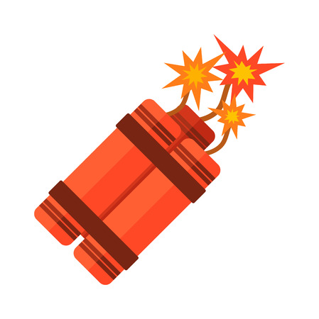 cartoon bomb: Dynamite bomb explosion violence detonate dynamite bomb. Aggression cartoon dynamite bomb with sparkle. Dynamite bomb with burning danger explosive weapon flat vector