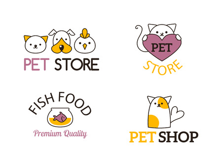 pet shop: Pet shop company emblem set.