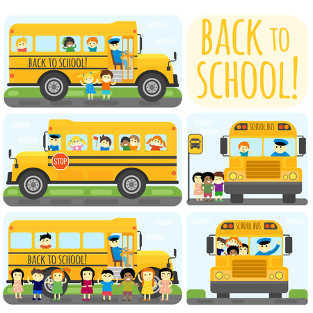 Illustration of school kids riding yelliw schoolbus transportation education. Student child isolated school bus safety stop drive vector. Travel automobile school bus public trip childhood truck. Illustration