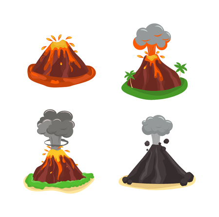 volcano mountain: Volcano magma nature blowing up with lava flowing down vector set. Crater mountain volcano hot natural eruption nature. Volcano erupt ash fire hill landscape outdoor geology exploding ash.