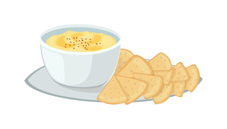 matzah: Hummus jewish food, appetizer mashed chickpeas with tahini. Jewish food traditional meal cuisine parsley matzah. Vector jewish food vegetarian delicious lunch soup. Holiday homemade matzo.