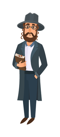 rabbi: Orthodox jewish man vector illustration. Jewish man east tradition israeli religious belief judaism. Holiday comic character symbol jewish man. Religious orthodox men ethnic judaic people.