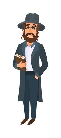 Orthodox jewish man vector illustration. Jewish man east tradition israeli religious belief judaism. Holiday comic character symbol jewish man. Religious orthodox men ethnic judaic people.