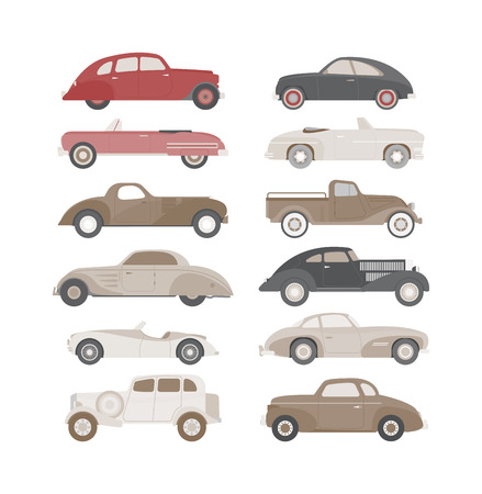 machine shop: Retro cars icons set vintage vector. Classic transportation auto vehicle retro car. Retro car nostalgia automobile old design. Graphic emblem race engine machine shop antique wheels set.