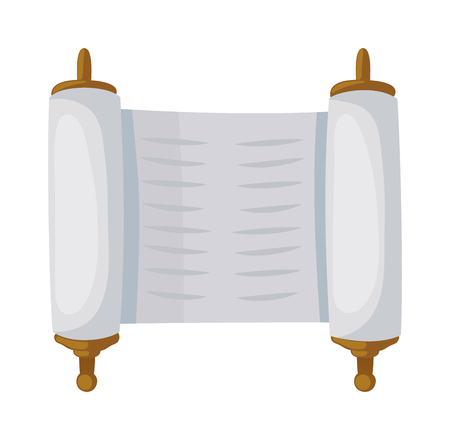 hebrew bible: Torah sacred scroll flat style papyrus israel tradition. Jewish torah sacred scroll flat vector illustration book, Jewish old scroll. Parchment sacred scroll religious torah jewish hebrew open bible.