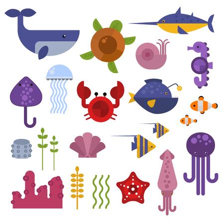 Vector reeks leuke zeedieren dieren karakters. Cartoon oceaan onderwater krab zeedieren. Leuke aquarium leven water collectie geïsoleerd schildpad grafisch waterdieren tropische zeedieren.