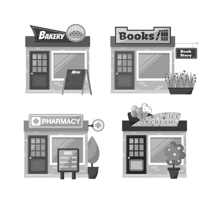 ice brick: Store shop front window buildings icon set flat isolated vector illustration. Shop front retail building door and street facade market shop front. Shop front urban restaurant architecture exterior.