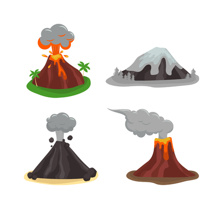 volcano lava: Volcano magma nature blowing up with lava flowing down vector set. Crater mountain volcano hot natural eruption nature. Volcano erupt ash fire hill landscape outdoor geology exploding ash.