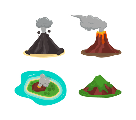 erupt: Volcano magma nature blowing up with lava flowing down vector set. Crater mountain volcano hot natural eruption nature. Volcano erupt ash fire hill landscape outdoor geology exploding ash.
