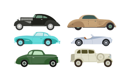 machine shop: Retro cars icons vintage vector. Classic transportation auto vehicle retro car. Retro car nostalgia automobile old design. Graphic emblem race engine machine shop antique wheels set. Illustration