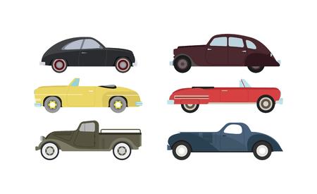 antique car: Retro cars icons vintage vector. Classic transportation auto vehicle retro car. Retro car nostalgia automobile old design. Graphic emblem race engine machine shop antique wheels set. Illustration